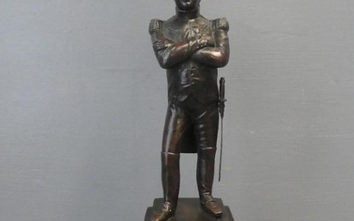 Bronze Napoleon standing arms folded on a square plynth base...