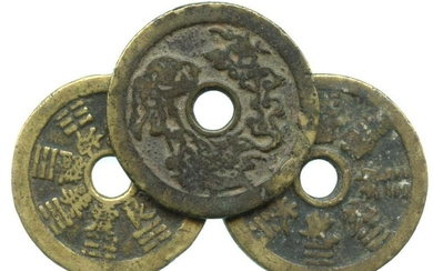 CHINA Qing, Charms coins, with Ba-Gua &12-Zodiac design