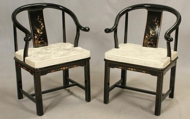 CHINESE BLACK LAQUER ARM CHAIRS, PAIR