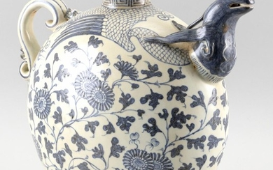 """CHINESE UNDERGLAZE BLUE AND WHITE KENDI In moon flask form, with scrolled handle and animal-form spout. Height 12"""". Length 14""""."""