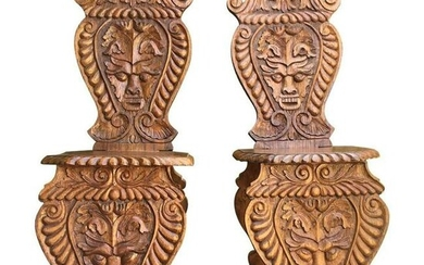 Carved Sgabello Hall Chairs Early-20th Century