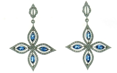 Cathy Waterman Dangle Platinum EARRINGS with Blue Topaz