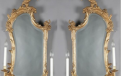 Chinese Chippendale Style Giltwood Phoenix Sconces