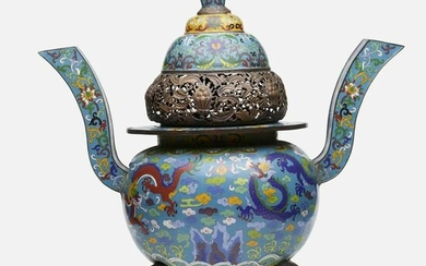 Chinese, cloisonné enamel 'Dragon' censer and cover
