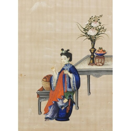 Chinese pith paper painting of a seated female with lucky ob...