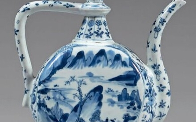 Chinese porcelain ewer. Kangxi (1662-1722). Of flattened globular shape, with a high curved neck ending in a cup, with an angular handle and a spillway, with blue-white decoration on the bellies of lake landscapes with figures in medallions...