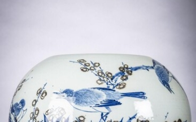 Chinese vase in porcelain with underglaze red and blue decoration 'birds an
