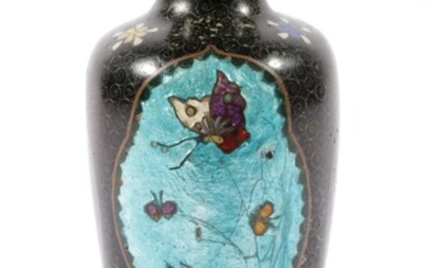 Cloisonne Butterfly Themed Bud Vase With Glass Cased Panels (H:16cm)