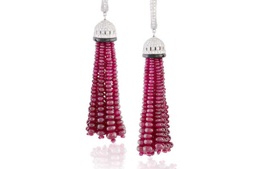 Description A PAIR OF DIAMOND, RUBY AND ONYX PENDENT...