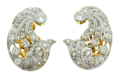 Diamond Gold Platinum EARRINGS Art Deco 1930s Clip on