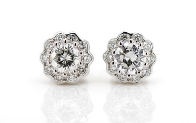 Diamond cluster and 18ct white gold earrings marked AU 750. ...