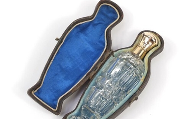 Dutch gold mounted cut glass scent bottle with stopper and f...