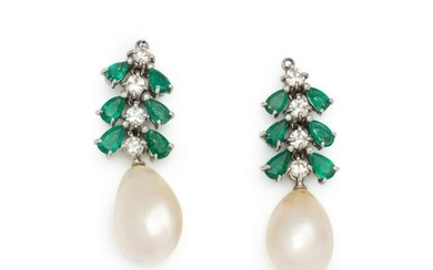 EMERALD, DIAMOND AND CULTURED PEARL EARRING ENHANCERS