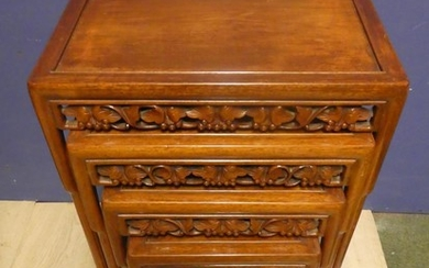 Early C20th Chinese carved hardwood nest of 4 tables 49w x 7...