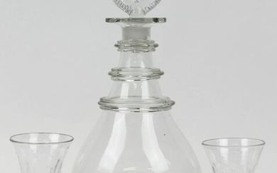 Early Free Blown Decanter and Two Cordials