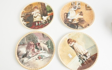 FOUR ROYAL DOULTON CABINET PLATES, 21 CM DIAMETER, LEONARD JOEL LOCAL DELIVERY SIZE: SMALL