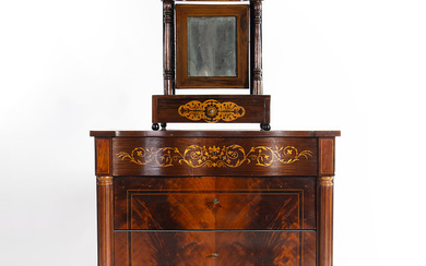 Ferdinand-style small chest of drawers with table dresser, 19th and 20th Centuries.