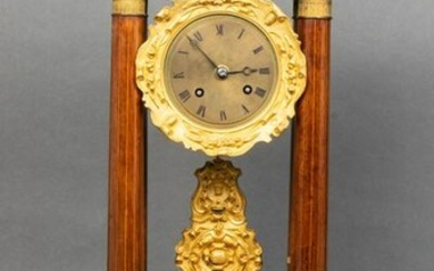 French Marquetry Inlaid Portico Clock, 19th C.