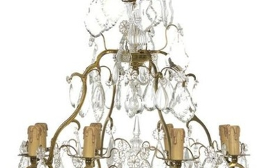 Gilt-Brass and Crystal Chandelier