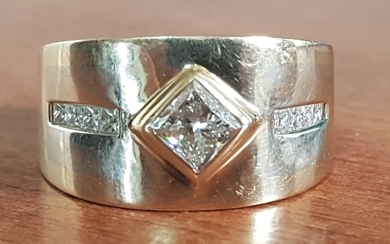 Gold and Diamond Ring; Gold Ring with Centre Square Princess...
