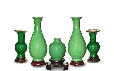 Group of 5 Chinese Green Glazed Vases, 18-19th Century