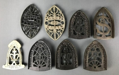 "Group of 8 : Antique Cast Iron Sad Iron Trivets - ""Best"