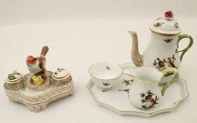 HEREND ROTHSCHILD PORCELAIN GROUP AND MINATURE TEA SET