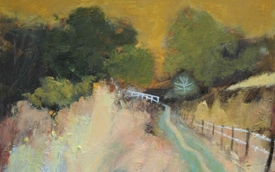 """Helen Tabor (British, B.1960) """"Path to the Little Bridge"""" , oil on board, signed to lower left"""