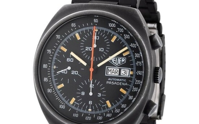 Heuer. Interesting and Nice Pasadena Chronograph Wristwatch in Pvd Coated Steel, Reference 750 501