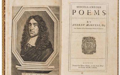Huth copy.- Marvell (Andrew) Miscellaneous Poems, first edition, printed [by Simon Miller?] for Robert Boulter, at the Turks-Head in Cornhill, 1681.