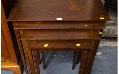 INLAID NEST OF 3 MAHOGANY OCCASTIONAL TABLES 73cm high, 71c...