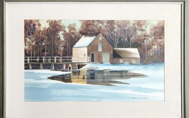 James Feriola, Mill in Winter, Watercolor Painting