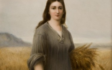 "KPM Porcelain Rectangular Plaque, 19th Century, ""Ruth""."