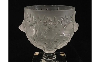 LALIQUE, A BOXED FROSTED AND CLEAR GLASS VASE Titled 'Birds ...