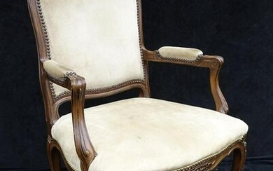 """LOUIS XV STYLE SUEDE UPHOLSTERED FAUTEUIL 40""""H 26""""W"""