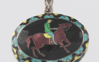 Ladies' Sterling Silver Guilloche Enamel Equestrian Double Sided Pendant Locket Vail