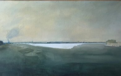 Large C20th Oil on Canvas View of Leningrad Skyline from the...
