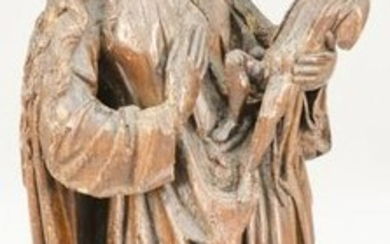 Large Carved Oak Madonna and Child Figure, 15th or 16th