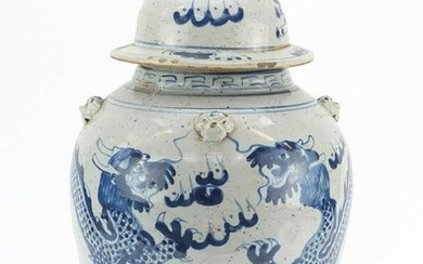 Large Chinese blue and white porcelain jar and cover,