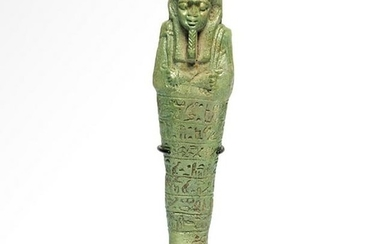 Large Egyptian Faience Shabti with Eight Lines of