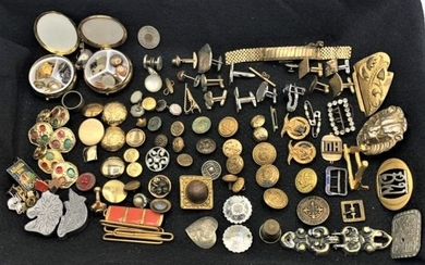 Large Variety MAN LOT, badges, buttons, buckles, cuff
