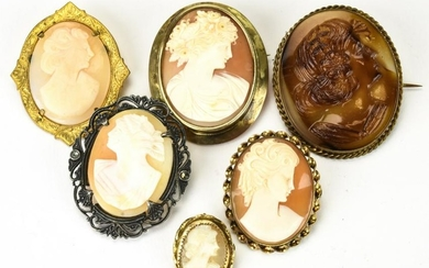 Lot of 6 Vintage and Antique Cameo Brooches