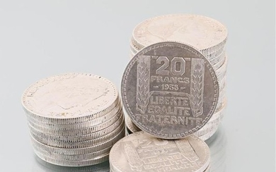 Lot of twenty-eight silver coins 20 Francs 1938,...
