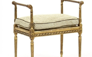 Louis XVI Style Carved and Gilt Bench