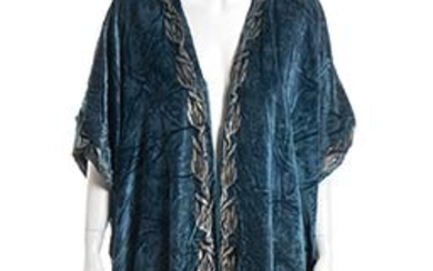 MARIA MONACI GALLENGA VELVET OVERCOAT 20s (signed fabric) steel blue...