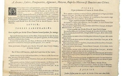 MEURTHE-ET-MOSELLE; 1757. BAILIWICK OF NANCY (54). Final adjudication. Buildings for sale at Amance, Laitre, Dompmartin, Agincourt, Moivron, Rupt-lez-Moivron & Bouxière-aux-Chênes. (... a silver annuity to the Lord of Rupt... a Cens to the Priory of...