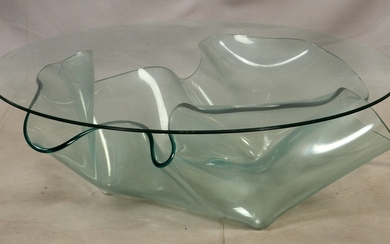 MODERNIST STYLE GLASS COFFEE TABLE 16 DIA 44