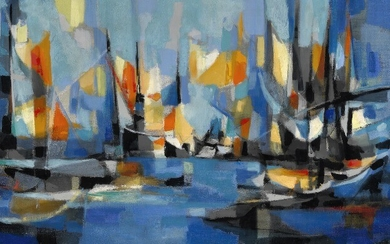 """Marcel Mouly: """"Port de pêches breton"""", Paris 1959. Signed M. Mouly 59; signed, titled and dated on the reverse. Oil on canvas. 50×100 cm."""