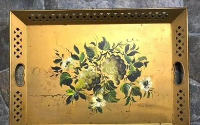 Mid Century Nashco Tole Ware Handpainted Grapes, Fruit