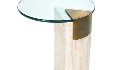 Modern Glass, Marble, and Brass End Table.